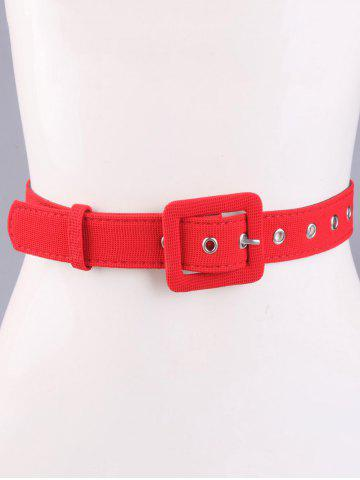 Online Coat Wear Rectangle Pin Buckle Wide Cloth Belt - RED  Mobile