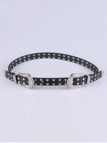 Online Coat Wear 2 Buckle Studded Waist Belt BLACK