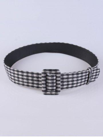 Latest Coat Wear Plaid Cloth Wide Belt - BLACK  Mobile