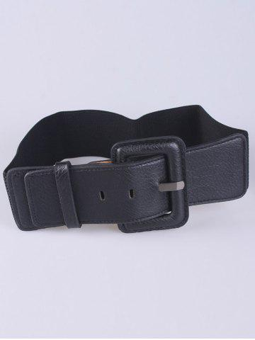 Shop Coat Wear PU Large Pin Buckle Stretch Belt BLACK