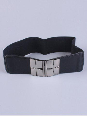 Fancy Coat Wear Double Metal H Buckle Stretch Belt - BLACK  Mobile