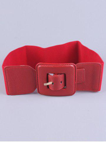 Hot Big Square Pin Buckle Stretch Chunky Waist Belt - RED  Mobile