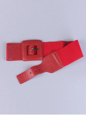 Chic Big Square Pin Buckle Stretch Chunky Waist Belt - RED  Mobile