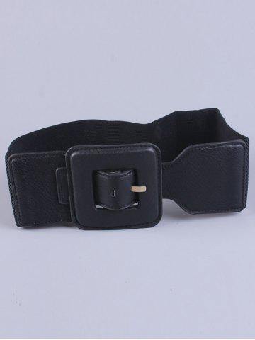 Chic Big Square Pin Buckle Stretch Chunky Waist Belt - BLACK  Mobile