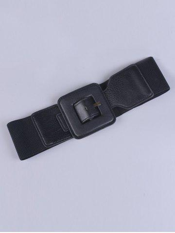 Latest Big Square Pin Buckle Stretch Chunky Waist Belt - BLACK  Mobile