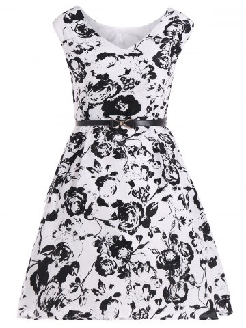 Outfit Vintage Floral Belted Dress WHITE AND BLACK 2XL