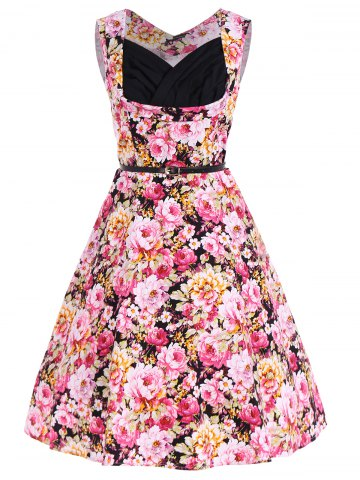 Affordable Belted Floral Fit and Flare Dress