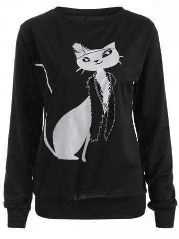 Cheap Casual Cat Print Loose Sweatshirt