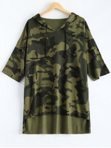 Outfit Hooded High-Low Army Camouflage T-Shirt