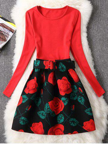 Retro Rose Flower Fit and Flare Dress - RED XL
