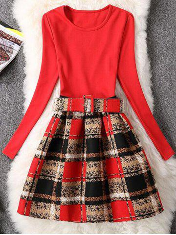 Discount Retro Graffiti Plaid Skater Dress with Sleeves RED XL