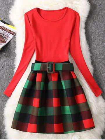 Shop Retro Checked Print Fit and Flare Dress RED XL
