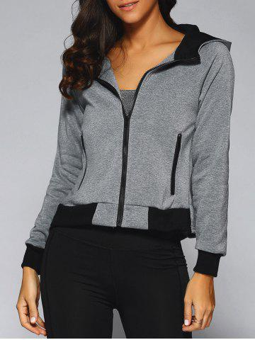 Fashion Hooded Zip-Up Color Block Jacket