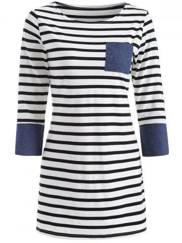 Casual Striped Patched Dress - BLUE XL