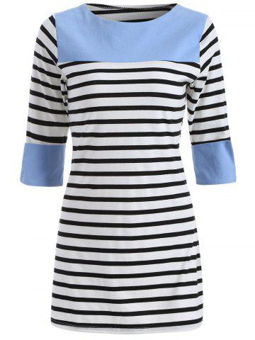 Unique Casual Striped Color Block Dress BLUE XL