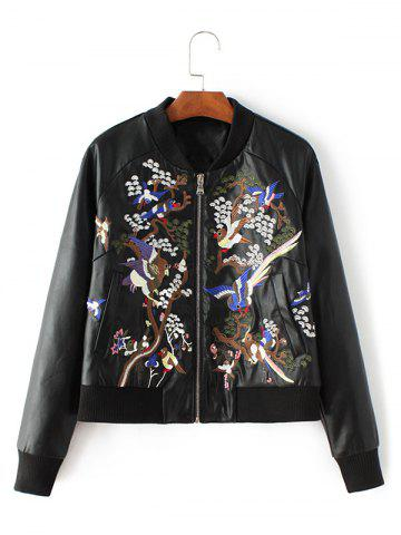 Buy Bird Embroidered Faux Leather Bomber Jacket