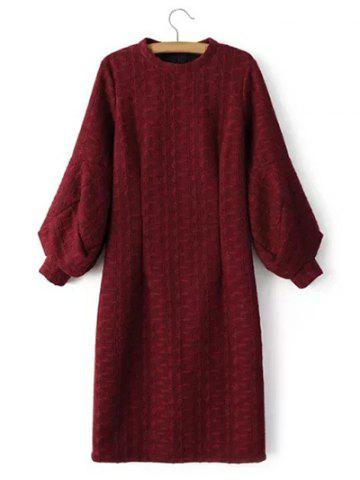 Cable Knitted Lantern Sleeve Slimming Jumper Dress - Wine Red - S