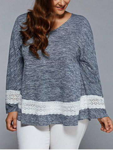 Fashion Plus Size Lace Insert Flare Sleeve Blouse BLUE GRAY 3XL