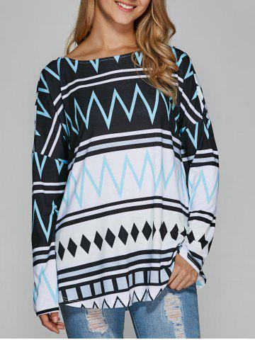 Fancy Drop Shoulder Zigzag Blouse