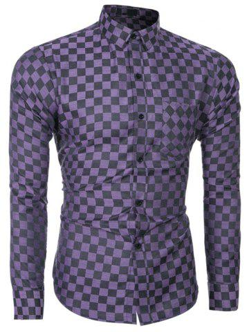 Buy Button Up Long Sleeve Grid Pattern Shirt PURPLE XL