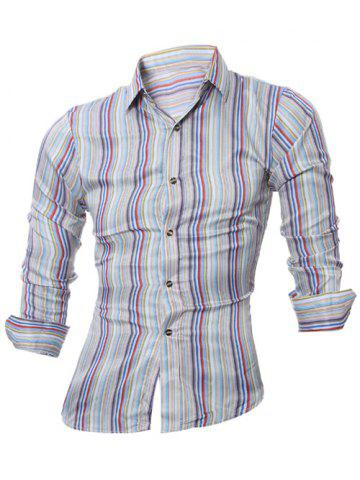 Latest Long Sleeve Colorful Striped Shirt COLORMIX 2XL