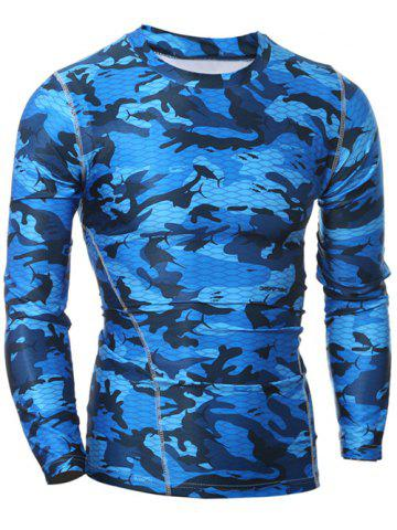 Outfits Quick Dry Round Neck Gym Camo T-Shirt BLUE 2XL