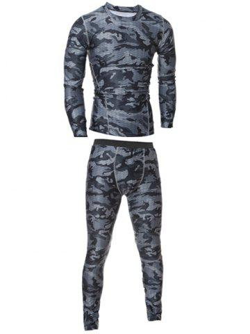 Camo T-Shirt and Elastic Waist Gym Pants Twinset - Gray - M