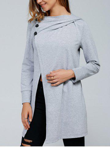 Inclined Button Front Slit Hoodie - LIGHT GRAY XL
