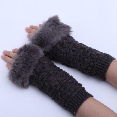 Latest Winter Faux Rabbit Fur Knitting Butterfly Hand Fingerless Gloves - DEEP GRAY  Mobile