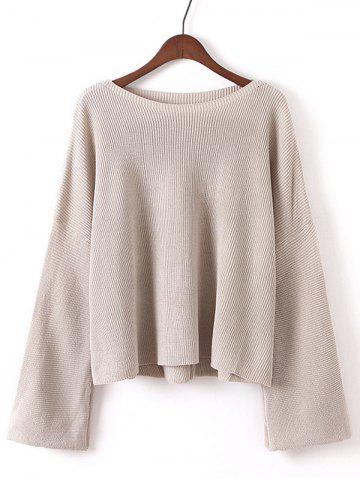 Unique Bell Sleeves Ribbed Knitted Pullover