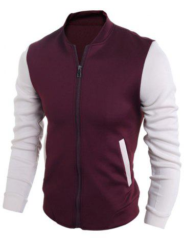 New Zip Up Stand Collar Two Tone Jacket