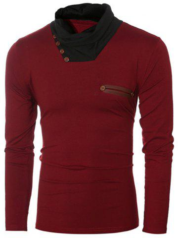 Button Embellished Cowl Collar Insert T-Shirt - Wine Red - M