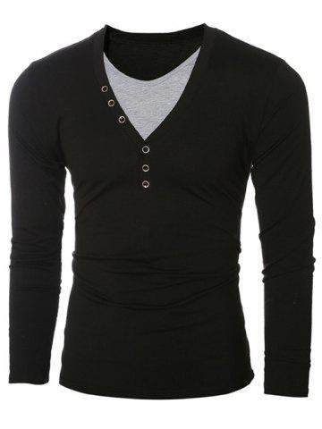 Outfit Button Embellished Round Neck Long Sleeves T-Shirt BLACK 2XL