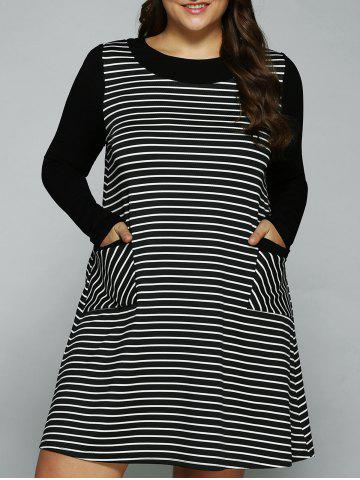 Buy Plus Size Double Pockets Striped Dress STRIPE XL