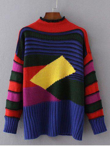 Unique Geometric Pattern Ribbed Sweater