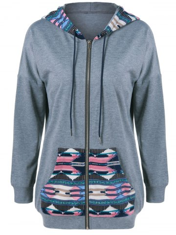 Trendy Drop Shoulder Print Trim Drawstring Hoodie