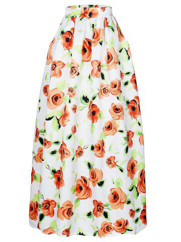 Unique High-Waisted Floral Print Maxi Skirt