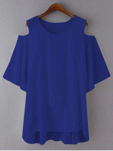 Best Plus Size Cut Out Layered Chiffon Blouse ROYAL BLUE 5XL