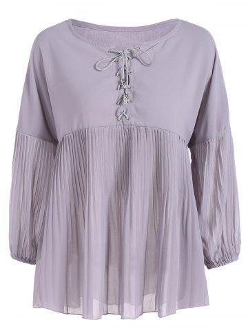 Buy Plus Size Lace-Up Pleated Blouse