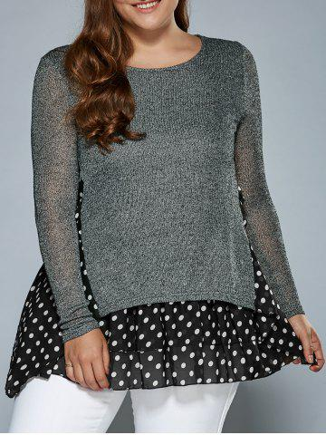 Chic Knitted Polka Dot Layer Look Dress