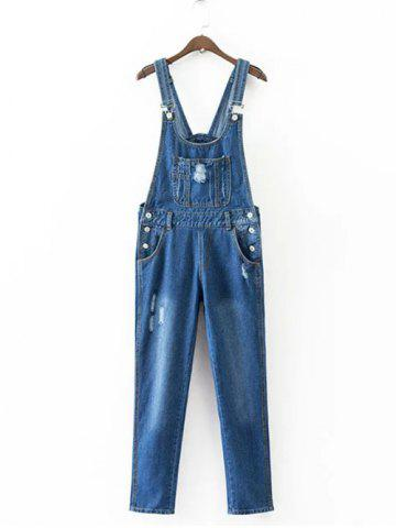 Fashion Buttoned Ripped Denim Overalls