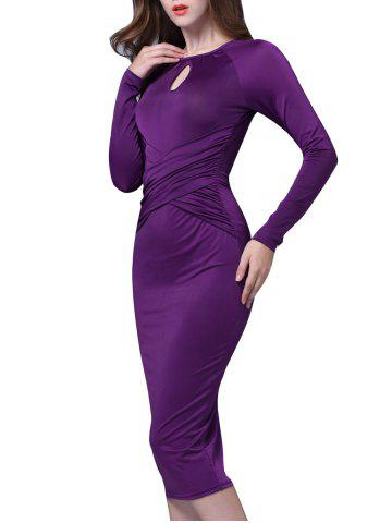 Best Ruched Keyhole Bodycon Midi Dress with Long Sleeve
