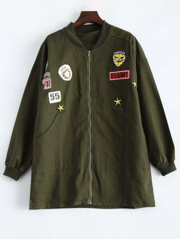 Discount Embroidered Patched Loose Coat ARMY GREEN 5XL