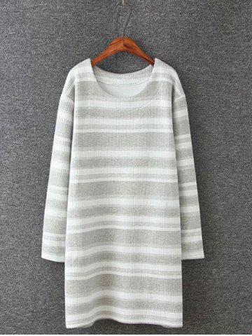 Store Plus Size Striped Mini Sweatshirt Dress