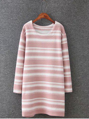 Affordable Plus Size Striped Mini Sweatshirt Dress