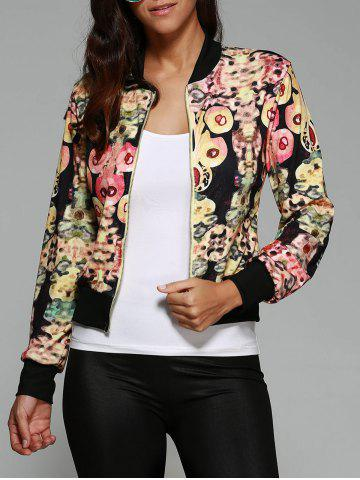 Trendy Abstract Print Zipper Design Jacket