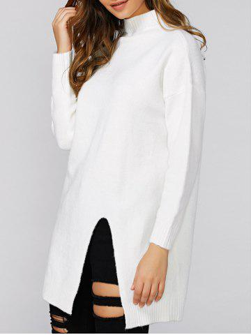 Fashion Loose Slit Long Knitwear WHITE ONE SIZE