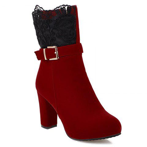Unique Embroidery Chunky Heel Zipper Short Boots RED 41