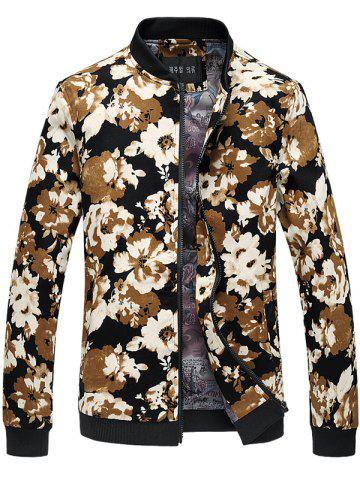 Best Stand Collar Floral Print Jacket FLORAL 6XL