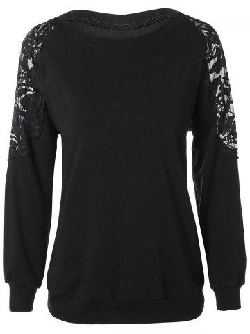 Fashion Plus Size Lace Patchwork Pullover Sweatshirt